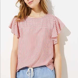Loft MIXED STRIPE FLUTTER TOP